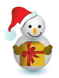 Snowman holding a present illustration design Stock Photo
