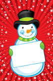 Snowman Holding Sign Stock Images