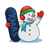 Snowman holding snow board Stock Photo