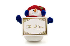 Snowman holding a thank you card. On white, merry Christmas Stock Image