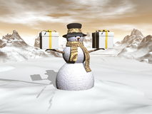 Snowman holding two big gifts - 3D render Royalty Free Stock Photo