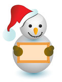 Snowman holding wood sign Stock Images