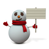 A snowman holding a wooden sign Royalty Free Stock Photography