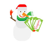 Snowman holds coupons Stock Photo