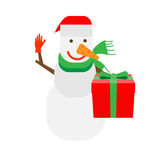 Snowman holds a gift box Royalty Free Stock Photography