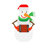 Snowman holds harmonica Royalty Free Stock Image