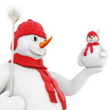 Snowman holds her hand on the little snowman. 3d. Royalty Free Stock Photos