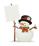 Snowman holds up the snowy message of your choice.  Royalty Free Stock Photos