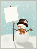 Snowman holds up the snowy message of your choice Royalty Free Stock Image