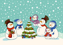Snowman holiday party Royalty Free Stock Photography
