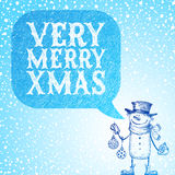 Snowman with holidays baubles congratulates you wi Royalty Free Stock Photos