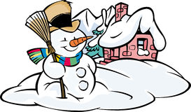 Snowman with house Stock Images