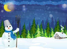 Snowman and  house Royalty Free Stock Photo