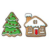 Snowman and house Christmas gingerbread cookies. Glazed snowman and house Christmas gingerbread cookies, sketch style vector illustration isolated on white Royalty Free Stock Photo