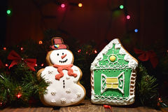 Snowman and house cookies Royalty Free Stock Images