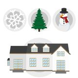 Winter season design. Snowman and house of winter season snow and cold theme Vector illustration Royalty Free Stock Images