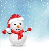 Snowman i det santa locket och snow Arkivbild
