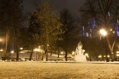 Snowman i Riga Royaltyfri Bild