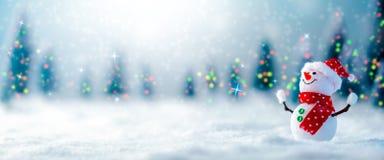 Snowman i snowen arkivbild