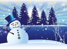 Snowman on Ice. A snowman with blue top hat in the snow next to a tree lined lake with falling snow Stock Photos