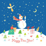Snowman with Ice Cream Stock Images