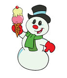 Snowman With Ice Cream Royalty Free Stock Photography
