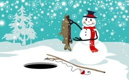Snowman ice fishing vector. Christmas card of successful smiling snowman ice fishing vector stock illustration