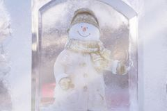 Snowman ice sculpture stock photography