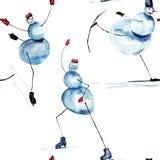 Snowman Ice Skating Cartoon Royalty Free Stock Photo