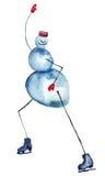 Snowman Ice Skating. Watercolor illustration Royalty Free Stock Photo