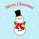 Snowman icon. On the blue background. Vector illustration Stock Photography