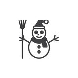Snowman icon vector, flat sign, solid pictogram isolated on whit Stock Photography