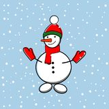 Snowman icon. Vector illustration on blue background Royalty Free Stock Photography