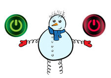 Snowman and icons of inclusion Stock Images