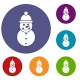 Snowman icons set Stock Images