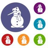 Snowman icons set Royalty Free Stock Photo