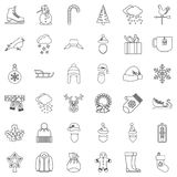 Snowman icons set, outline style. Snowman icons set. Outline style of 36 snowman vector icons for web isolated on white background Stock Photo