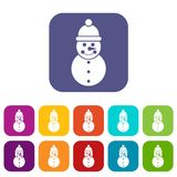 Snowman icons set Royalty Free Stock Images