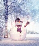 Snowman in the idyllic winters day, Christmas background royalty free stock photography
