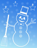 Snowman illustration on blue background Royalty Free Stock Image