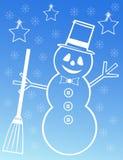 Snowman illustration on blue background Royalty Free Stock Image
