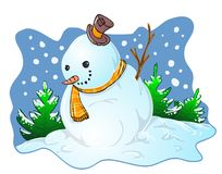 Snowman illustration. Snowman color illustration for greetings cards Royalty Free Stock Photo