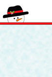 Snowman Illustration over Blank Copy Area Royalty Free Stock Images