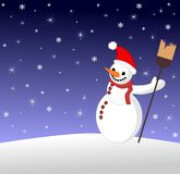 Happy Snowman under snow Stock Photo
