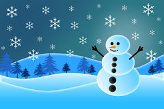 Snowman Illustration. Illustration of a snowman in the snow with falling snowflakes Vector Illustration