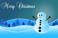 Snowman Illustration. Illustration of a snowman in the snow with Merry Christmas written on it Vector Illustration