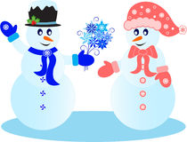 Snowman Illustrations. With snowflake flowers, black hat, pink hat, pink mittens, blue mittens, blue scarf, pink scarf, white snowflakes, blue flowers, blue Royalty Free Stock Images