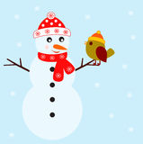 Snowman Illustraton. Snowman and green bird illustration, white snowflakes, red hat, red scarf, snow, blue background, fauna, nature, red snowflakes Stock Photo