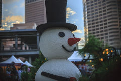 snowman image in christmas city Royalty Free Stock Photo