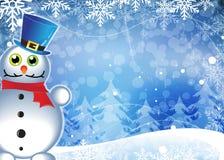 Snowman In Blue Pot Stock Photo